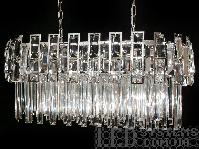 Хрустальная люстра овальной формы для гостиной, цвет хром, на 8 ламп. Хрустальная люстра овальной формы для гостиной, цвет хром, на 8 ламп Всего за 4260грн.