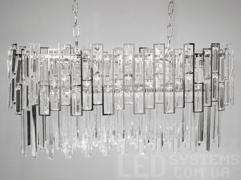 Хрустальная люстра в гостиную, столовую овальной формы, цвет хром, на 8 ламп. Хрустальная люстра в гостиную, столовую овальной формы, цвет хром, на 8 ламп Всего за 4260грн.