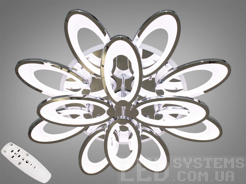 LED-люстра с диммером и цветной подсветкой, цвет хром, 195WПотолочные люстры, Светодиодные люстры, Люстры LED, Потолочные, Новинки