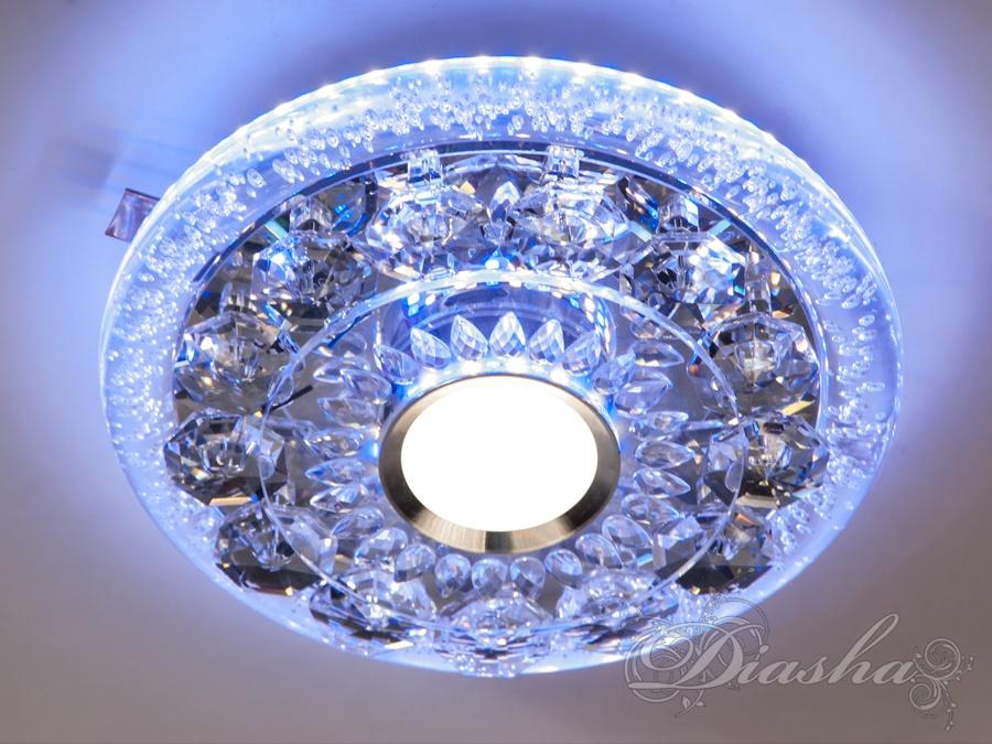 Накладной точечный светильник с синей подсветкойВрезка, Точечные светильники, Хрустальные точечные светильники, Накладные точечные светильники