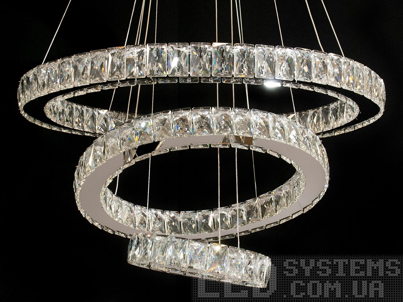 Хрустальная светодиодная люстра-подвес на 3 кольца, цвет хром, 80W на 12кв.м. Хрустальная светодиодная люстра-подвес на 3 кольца, цвет хром, 80W на 12кв.м Всего за 5030грн.