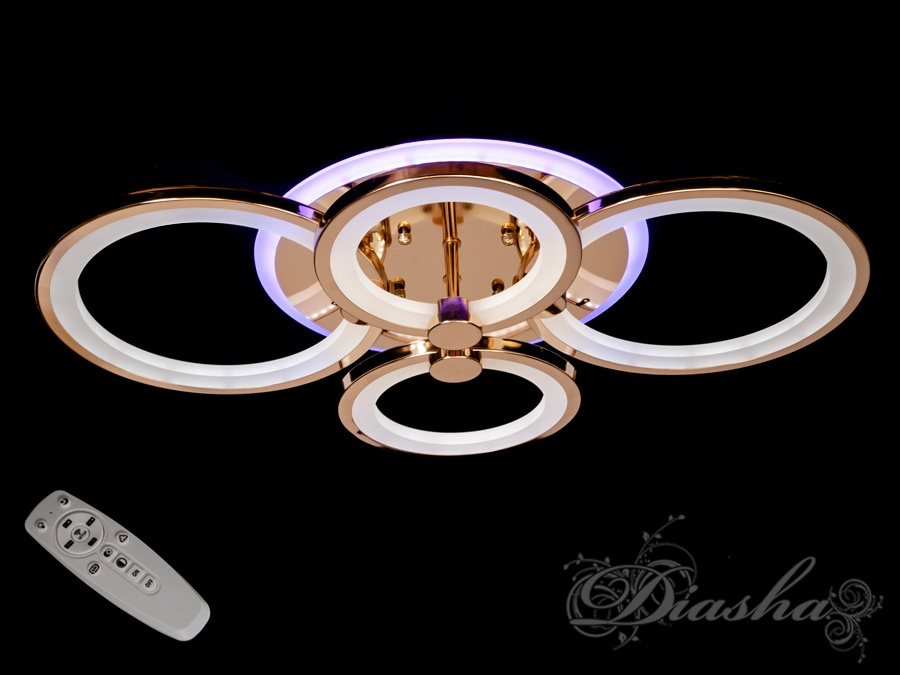 Потолочная люстра с диммером и LED подсветкой, цвет золото, 100WПотолочные люстры, Светодиодные люстры, Люстры LED, Потолочные, Новинки