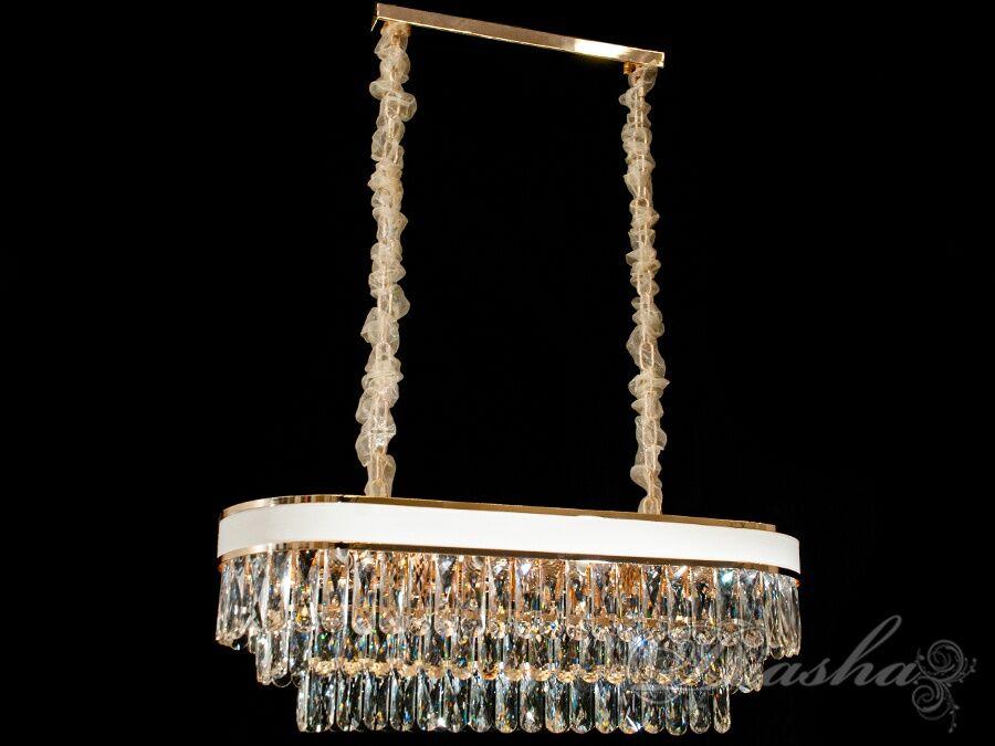 Хрустальная люстра овальной формы для гостинойЛюстры классика, Хрустальные люстры