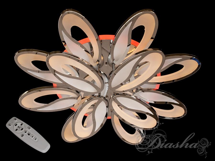 Потолочная люстра с диммером и LED подсветкой, цвет хром, 200WПотолочные люстры, Светодиодные люстры, Люстры LED, Потолочные, Новинки