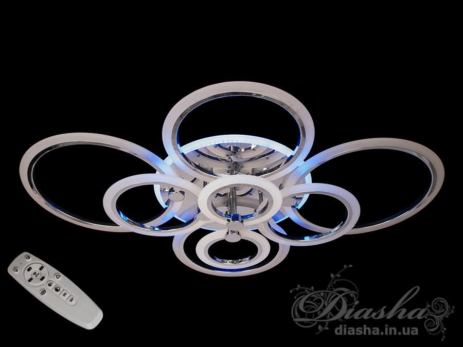 Потолочная люстра с диммером и LED подсветкой, цвет хром, 190W. Потолочная люстра с диммером и LED подсветкой, цвет хром, 190W Всего за 3400грн.