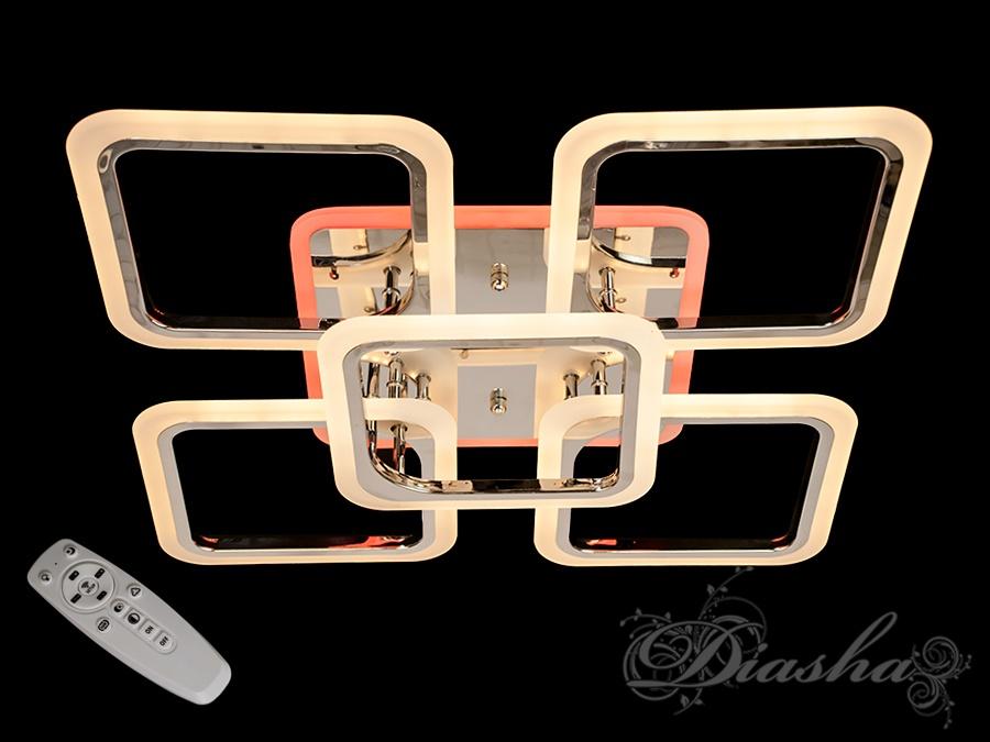 LED-люстра с диммером и цветной подсветкой, цвет хром, 120WПотолочные люстры, Светодиодные люстры, Люстры LED, Потолочные, Новинки