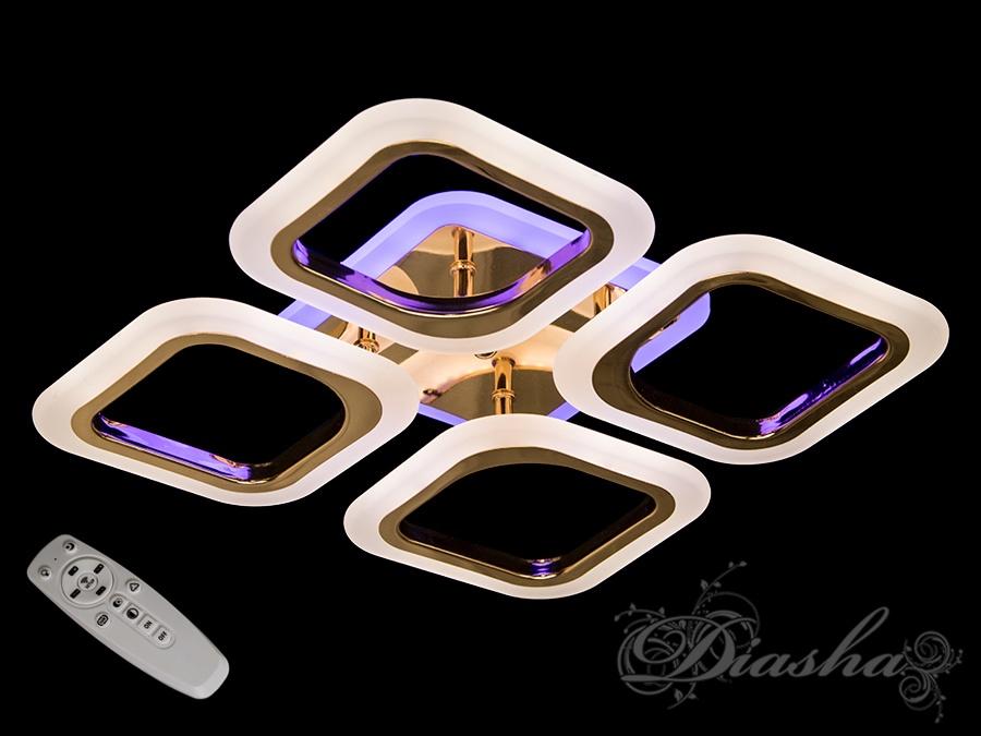 Потолочная люстра с диммером и LED подсветкой, цвет золото, 55WПотолочные люстры, Светодиодные люстры, Люстры LED, Потолочные, Новинки