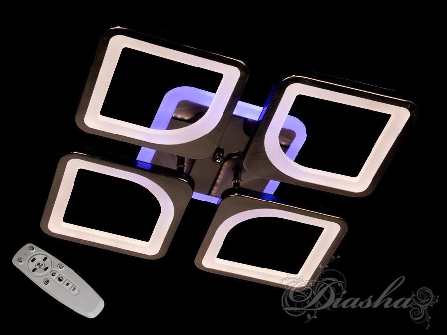 Потолочная люстра с диммером и LED подсветкой, цвет чёрный хром, 80WПотолочные люстры, Светодиодные люстры, Люстры LED, Потолочные, Новинки