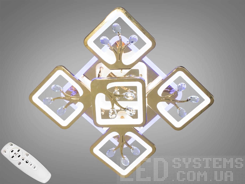 Потолочная люстра с диммером и LED подсветкой, цвет золото, 105WПотолочные люстры, Светодиодные люстры, Люстры LED, Потолочные, Новинки